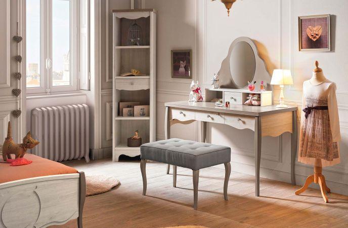 bureau romantique bureau romantique en bois patin argent 3 tiroirs 1 niche merveille. Black Bedroom Furniture Sets. Home Design Ideas