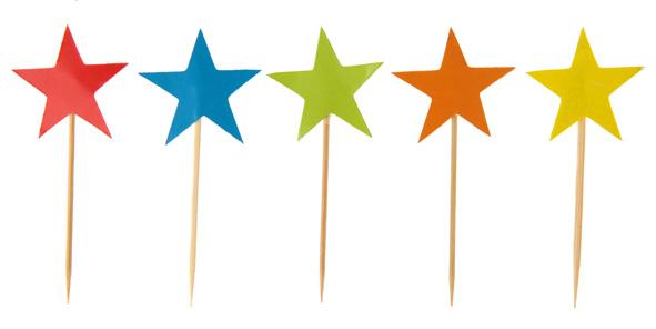 Piques étoiles multicolores, hauteur 7 cm. Lot de 10 (1,25 €).