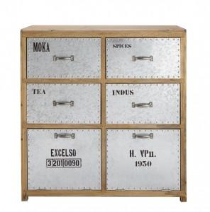 Cabinet Picpus bois naturel et métal brut, vernis acrylique mat (299 €).