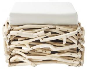 Pouf Rivage structure branches de teck blanchies, housse de coussin déhoussable 100% coton, coloris écru (69,30 €)