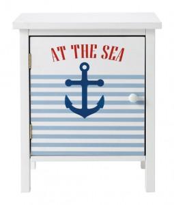 Chevet enfant Pirate en MDF coloris blanc et bleu avec motif imprimé, 1 étagère fixe, (48 €).