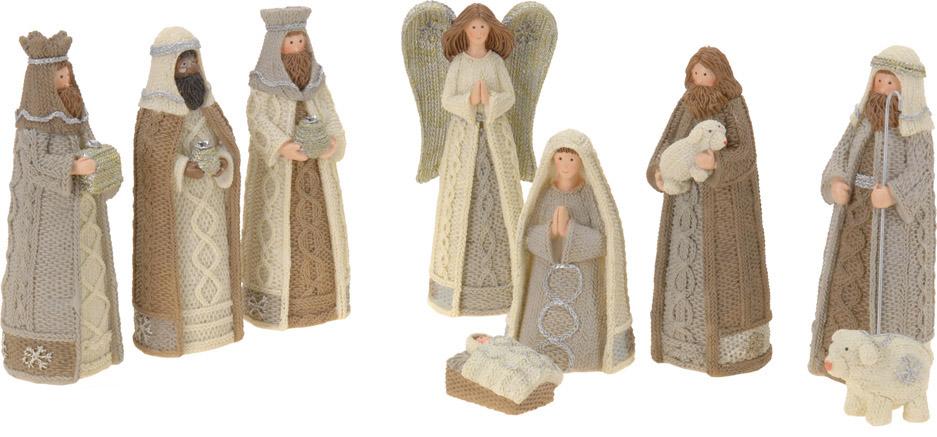 Santons Pacôme, hauteur max. 10 cm. Neuf santons résine (Marie, Jésus, Joseph, 3 Rois Mages, ange, berger, agneau (19,99 €).