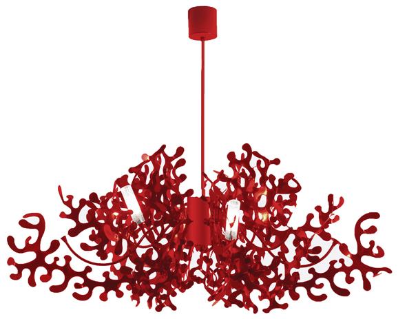 Les Eclairagistes. Suspension en métal laqué « Coral » design Villatosca. Diamètre 105 cm, 1 310 € (www.leseclairagistes.fr).